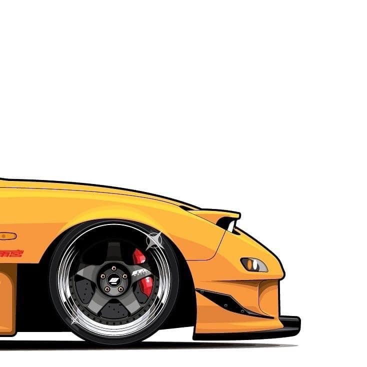 mazda rx7 fd frontal amarillo